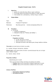 Semi-Detailed Lesson plan in Affixes
