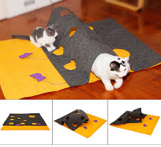 details about pet cat tunnel diy kitten toys hide and seek mat soft cushion kitty pad portable