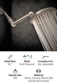 9 5 rain shower head with adjule arm