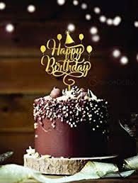 Amazoncom Shami Happy Birthday Cake Topper Gold Premium Quality