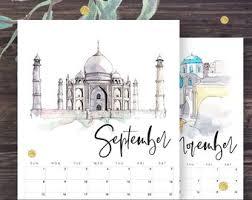 Travel Calendar Travel Calendar Etsy