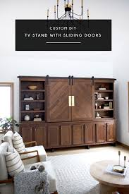 custom diy tv stand with sliding barn doors