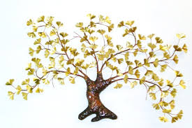 gingko tree brass  on ginkgo tree metal wall art with ginkgo tree wall sculptures 3 selections maxhoward