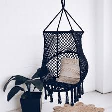 bondi macrame birdcage swing chair black bean bags chairs homewares the by fairfax