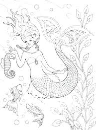 Detailed Mermaid Coloring Pages Aidrafox