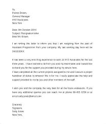 Letters Of Resignation Template Template Of Letter Resignation Examples Sample 2 Week Notice