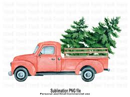 Old miniature truck or oldimer with a christmas tree on the roof driving trough a winterly landscape with some kind of christmas d. Christmas Tree Red Pickup Sublimation Graphic By Triplebcraft Creative Fabrica