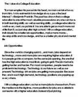 is the value of a college education essay what is the value of a college education essay