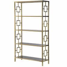 terano gold frame black mirrored glass open bookcase