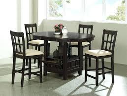 5 Piece Kitchen Table Round Counter Height Set In Dark Cherry Finish By
