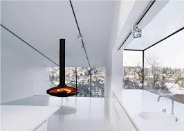 modern hanging gas fireplace