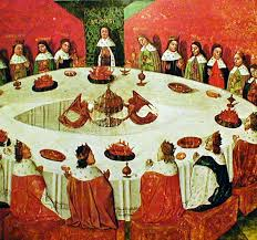 a version of the meval round table where each member had equal authority led by the king from a french meval mcript of the 1400 s