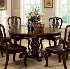 furniture of america cm3319rt bellagio traditional brown cherry finish 60 round dining table