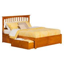 Atlantic Furniture Mission Caramel King Platform Bed with Flat Panel ...