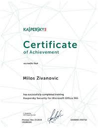 Microsoft Office Training Certificate Milos Zivanovic Kaspersky Security For Microsoft Office 365