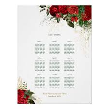 Wedding Reception Seating Chart Red Roses Wedding Reception Seating Chart