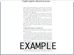 English Regents Essay Examples Regents Critical Essay The Sort Of