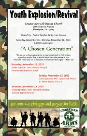 greater new life baptist church youth explosion and revival youth explosion revival flyer