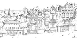 Coloriage Xxl Maison Appartements Ville Dessin