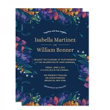 Cheap Rustic Navy Blue Floral Wedding Invitations Spring Wedding Invitations Watercolor Purple Flowers Invitation Template Gold Foil Wordings