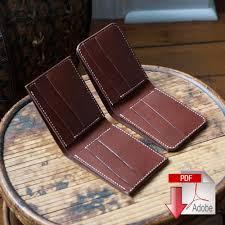 Leather Templates Leather Bi Fold Wallet Digital Template Set Slanted Slots 8 5 X
