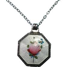 vintage sterling silver guillouche painted rose and forget me not just 4 girls ruby lane