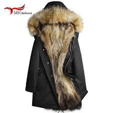 men and women real fur long rac fur lined hooded jacket thick parkas winter natural real rac fur collar coats a40 malaysia senarai harga 2019