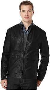 perry ellis textured faux leather er jacket