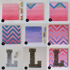 Step1: Paint a canvas in a solid color. I chose pink. To get the ombre  effect, I blended in white paint at the top of the canvas and red paint at  the ...