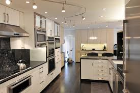 kitchen track lighting pictures. Example Of A Trendy Dark Wood Floor Eat-in Kitchen Design With Stainless  Steel Appliances Track Lighting Pictures