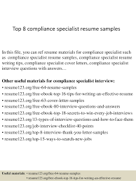 Top 8 compliance specialist resume samples In this file, you can ref resume  materials for ...