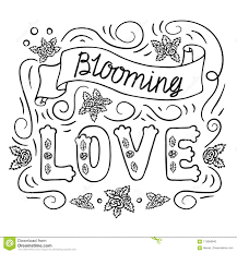 Blooming Love Romantic Vintage Art Black Hand Lettering On White