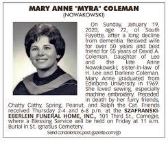 MARY ANNE NOWAKOWSKI COLEMAN Class of 1965 - Chartiers Valley High School  Memorials   Facebook
