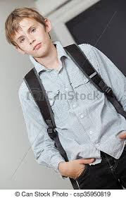 Handsome Young Teenage College Student Wearing His Backpack Standing