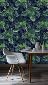Zelfklevend Behang Exotische Planten Groen Zwart 60x122 Cm