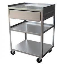three shelf stainless steel cart with drawer