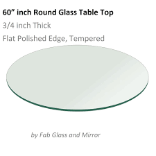 60 round glass table top 3 4 thick flat polish tempered 700115372176