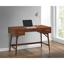 coaster 3 drawer mid century modern writing desk in walnut
