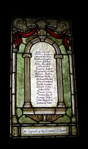 hoosier happenings  stained glass window in the old pilgrim church commemorating the signers of the flower compact two of my ancestors s are included in this