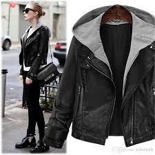 women s black hooded faux leather motorcycle er jacket with zipper autumn winter pu leather coat plus size moto jacket with hood winter jacket women