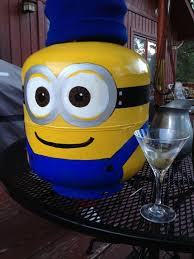 my project today my hand painted minion propane tank