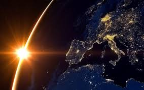 Sun And Earth From Space Europe Night ...
