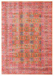 rust pink power loomed distressed modern rug