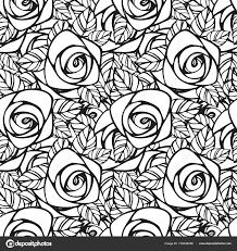Naadloze Patroon Met Zwarte Witte Rozen Silhouet Bloemen Behang