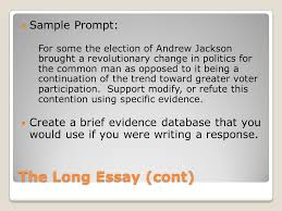 long essay and short answer ppt  the long essay cont sample prompt