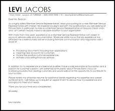 Member Service Representative Cover Letter Sample Cover