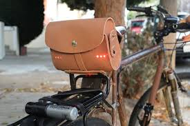 picture of leather saddle bag with built in light