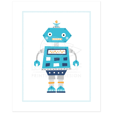 robot nursery print for boys with cute retro robot on robot nursery wall art with retro robot nursery wall art print