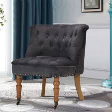 details about grey fabric velvet on back accent chair wheels fireside bedroom furniture uk