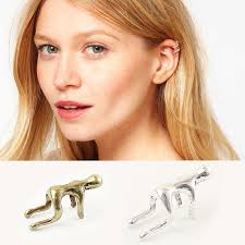 Silver/<b>Gold</b> Earrings Ear Clip <b>Climbing</b> Man <b>Climber Ear Cuff</b> Helix ...